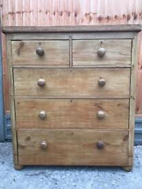 Victorian pine antique chest of drawers