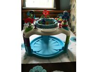 Bundle of baby toys. Includes activity table, baby walker, baby bath, bouncer and activity saucer