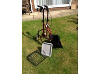 3 Wheeled walking aid with shopping bag and basket with tray