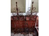2 x antique wrought iron work panels /
