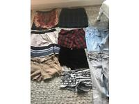 Skirts shorts and jeans all size 8
