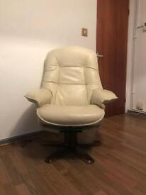 Cream leather reclining swivel chair