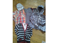 Boys age 9 to 10 years bundle checked hooded shirts, t-shirt, insert cardigan