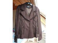 Ladies suit. M and S , Per Una skirt and jacket. Size 12. Dark brown.