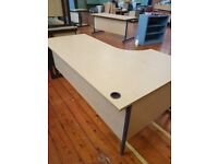 Large Oak effect curved office desk right handed opposite to picture