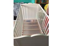 Ikea Hensvik White Wooden Baby Cot 120cm x 60cm
