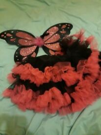 Pink and black tutu and butterfly wings