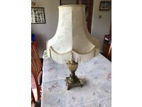 Decorative Antique Brass Table Lamp with Fabric Shade