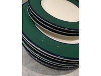 Set of green white plates