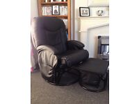 Reclinable and rocking nursing chair with rocking foot stall