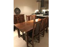 Rustic Mahogany Dining Table and Chairs and Matching Chest Of Drawers