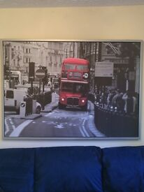 Framed wraparound picture of London bus. Works without frame