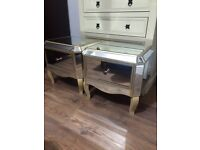 Brand new assembled vintage style mirrored bedside cabinet