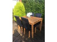 OAK Dining Table With 4 Leather Chairs WOOD