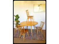 Ercol retro-vintage dining table and chairs