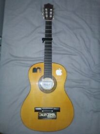 Herald acoustic guitar with new strings and Capo