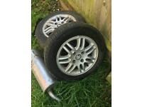 3 x Peugeot 206 tyres,alloys
