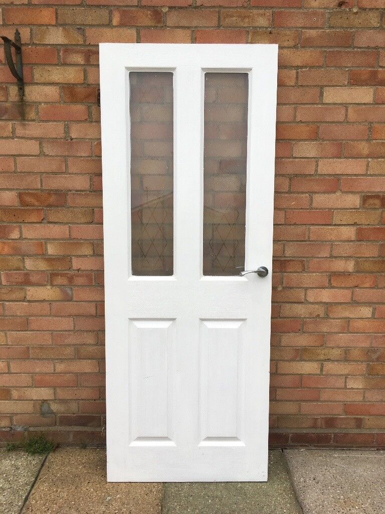 Four Interior Doors For Sale Used Painted White With Decorative Glass
