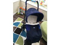 Chicco pushchair with footmuff and raincover