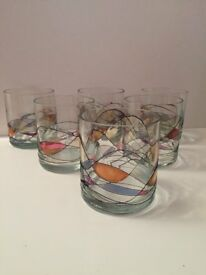 Set of six new whisky tumbler glasses