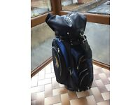 Powerkaddy golf bag in very good condition with rain cover and umbrella holder bargain at £10