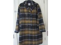 Brand New coat in Navy/mustard winter white size L(16)
