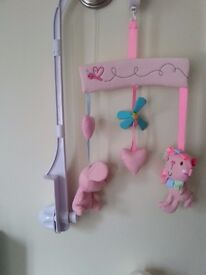 Pink cot mobile