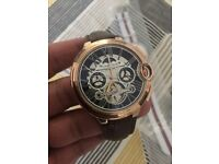 NEW Brown leather straps rose gold mens watch auto