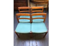 Vintage set of four Nils Jonsson for Troeds of Sweden garmi dining chairs for restoration of use.