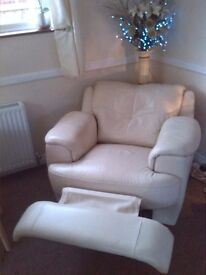 cream leather recliner , electric