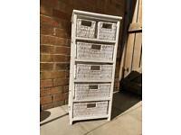 ** SOLD ** White wood & wicker drawer storage unit