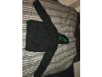 Large Supreme Black and green reversible hooded puffy