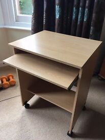Small computer desk, wood effect with free swivel chair