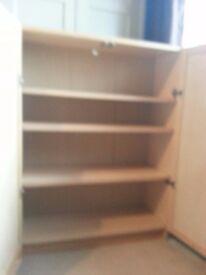 Ikea Billy 3 shelf bookcase with doors (light wood finish)