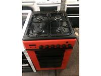 Black & red baumatic 50cm gas cooker grill & oven good condition with guarantee bargain