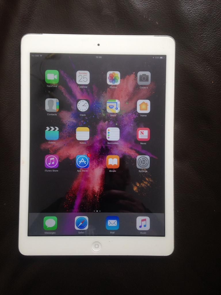 iPad Air 32gb wificellularin Liverpool, MerseysideGumtree - iPad Air 32gb wifi and cellular unlocked perfect working order and excellent condition only one very minor fault the home button very slightly sunk in but still works perfectly and doesnt affect use whatsoever.Comes with charger only may deliver if...
