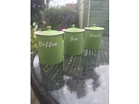 Beautiful lime green tea coffee and sugar storage jars