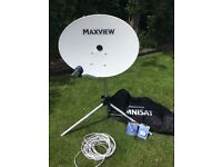 Portable satellite dish Maxview Omnistat 66 elliptical dish all accessories inc carrying case £100