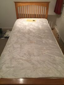 Single wooden bed frame with trundle bed