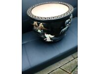 Large oriental mother of pearl bowl with stand forsale