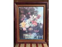 Antique Canvas Flower Painting Picture Frame - BARGAIN!