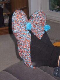 Ladies hand knitted slipper socks.
