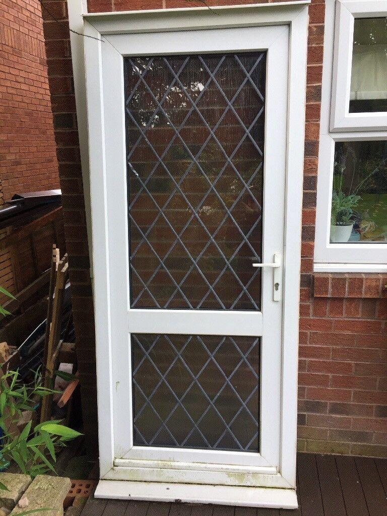 Upvc White External Door Back Door Lead Glass In Newcastle Tyne