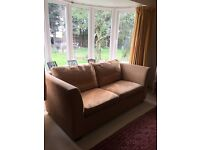 2 seater large brown sofa