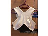 White/Black New Look Crop Top