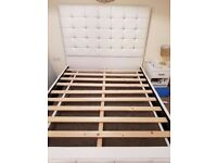 King size white diamonte white bed