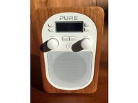 Pure EVOKE D2 Digital Radio (Walnut). AS NEW CONDITION. Bargain at £50! (Includes free £28 battery)