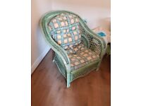 FREE FREE CANE CONSERVATORY CHAIR OR DINING ROOM CHAIR GREEN