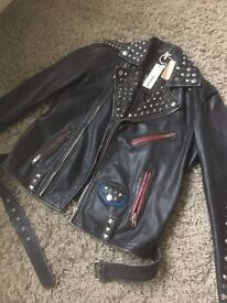 **DIESEL - MALE L-SNEH REAL LEATHER JACKET - NEVER WORN, WITH TAGS - SIZE: S - WAS: £780 NOW: £450**