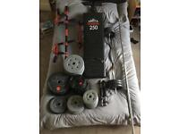Big set of weights and workout equipment